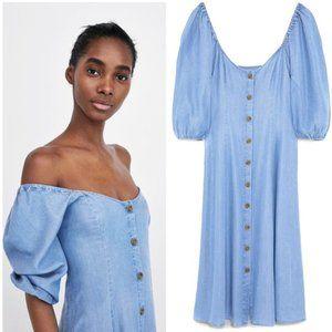Zara Premium Denim Chambray Off Shoulder Dress M